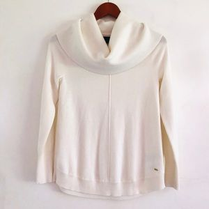 Tommy Hilfiger White Off-the-Shoulder Cowl Sweater
